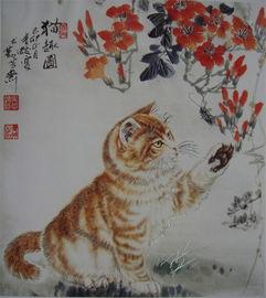 著名画家青蛟先生灵猫献瑞精品