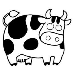 简笔画大全牛的画法-乖乖奶牛的简笔画图片