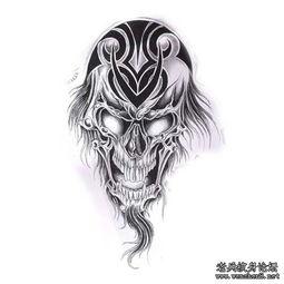 黑白骷髅纹身图案Tag标签 老兵纹身店,武汉纹身培训学校,纹身...