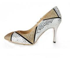 欧洲站 奢华高档真皮女鞋子 晶钻撞色尖头浅品细高跟鞋OL中跟单鞋