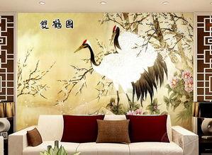 电视客厅沙发背景墙瓷砖背景墙双鹤图