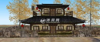 古代客栈酒楼古建筑三维模型