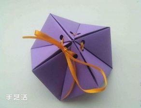 ...何小礼盒的折法图解 手工折纸糖果盒子步骤