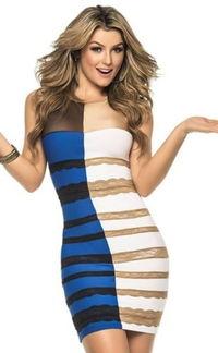 ...裙子吵了 时装网站推蓝黑白金四色裙