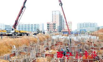 ...目,施工人员和机械正开展主体地基混凝土浇筑作业.    摄 -保障限...