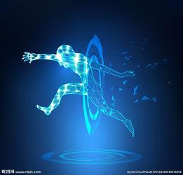 蓝色人形穿越科技背景矢量图片