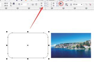...鼠标会变为一个箭头,在左边的圆角矩形框上点击进去;-在CDR里...