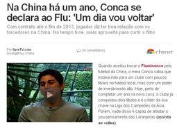"""球技迅速征服了中国球迷,并帮助... 近日在接受巴西媒体""""Spor TV"""
