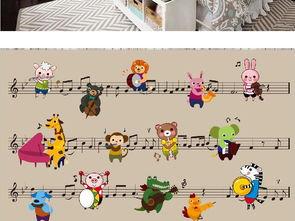 音符动物音乐会儿童房背景墙