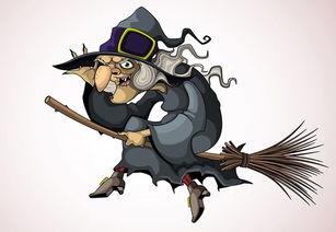 万圣节骑着扫把的巫婆,万圣节节日元素素材,巫婆,巫师,女巫...