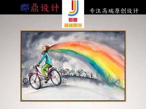 简笔画灰色天空彩色彩虹围巾自行车油画
