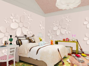 3D立体花瓣花朵卧室壁画背景墙图片设计素材 高清psd模板下载 48.68...