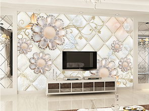 欧式软包3D奢华金色花朵珠宝唯美背景墙