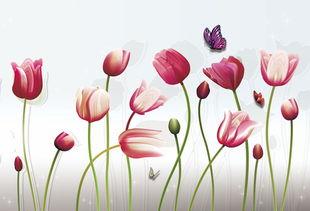 ...漂亮郁金香花海花藤背景墙