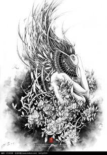 ...意美女黑白水墨素描画图片免费下载 编号3726508 红动网