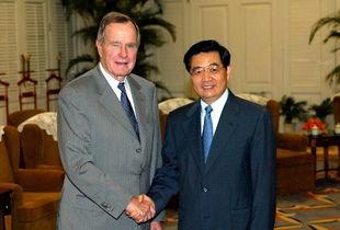 ...来出席博鳌亚洲论坛2004年年会的美国前总统布什-胡锦涛会见美国...