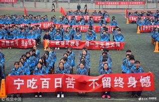 ...名高三学子参加高考百日誓师大会 条幅标语场面壮观