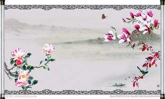 山水画卷轴设计图片