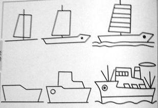 幼儿简笔画素材火车,轮船