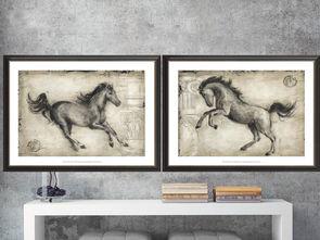 欧式黑白骏马马装饰画素材图库美式