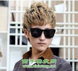 男生帅气短发发型图片层次感碎剪的刘海发型搭配黑色的墨镜,很有型...