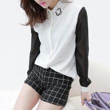 ...袖雪纺衬衫AA957 简单网www.J.cn