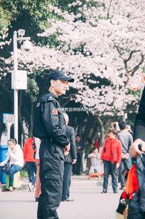 武大樱花节现最帅保安