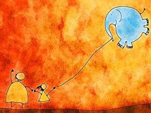 大象气球简笔画 大象气球图片欣赏 大象气球儿童画画作品