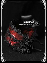 暗物堂 HEAVY RED 哥特洛丽塔暗红色缎面黑玫瑰发箍 HD0035