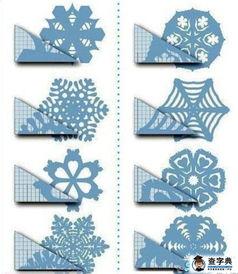 剪纸步骤图案大全 几种雪花剪纸