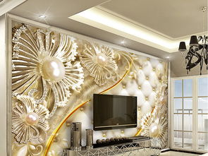 3D软包钻石花卉奢华珠宝背景墙