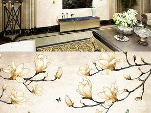 新中式复古立体玉兰花背景墙