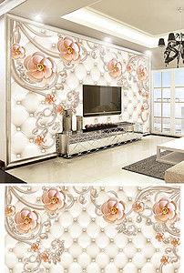 欧式轻奢软包花卉珠宝客厅电视背景墙