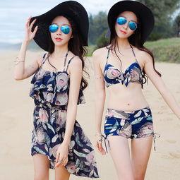 学生泳衣少女比基尼三件套小胸聚拢遮肚钢托平角性感韩国泳装温泉