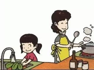 妈妈做饭背影卡通