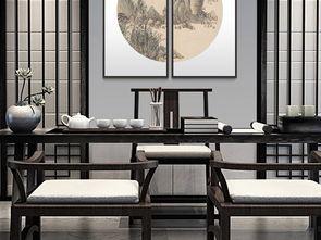 雅致时尚现代中式客厅圆形山水画无框画