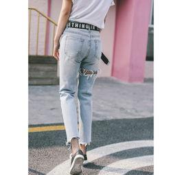 ...7新款前后破洞牛仔裤时尚百搭加腰带丝袜图片-舍宾丝袜大赛图集鉴赏