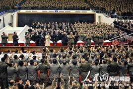 社报道,   朝鲜   最高领导人金正恩29日携夫人李雪主出席并观看了纪...