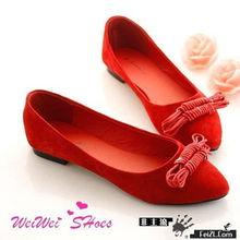 英伦学院风编织双绳蝴蝶结红色单鞋-早春MM最爱的鞋鞋