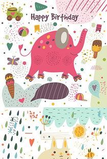 森系卡通可爱Q版手绘儿童话插画动物大象猫-童话婚礼图片素材 童话...