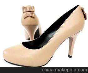 女鞋单鞋批发代理 达芙妮超高跟单鞋 蝴蝶结图片