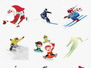 卡通手绘冬季滑雪运动人物户外姿势海报素材背景图片PNG