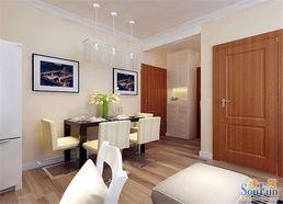 配白色床头柜,屋顶一样采用石膏线装饰,简约的同时增加空间造型感...