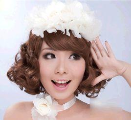 专属短发新娘的婚纱照拍摄