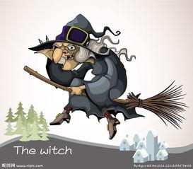 骑着扫把的巫婆图片