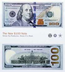 美国新版100美元面值纸币发布 防伪知识游客必备