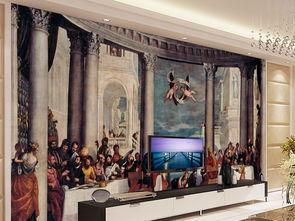 家庭迎门墙壁画-西方宫廷画门家的宴会电视背景墙