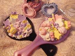 日系可爱萌物仿真马卡龙冰淇淋蛋糕手工DIY手柄镜子2