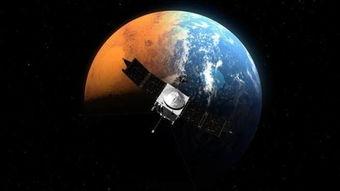 ...的火星宇宙飞船MAVEN纪录到太阳风暴吹走火星大气.(取自NASA...
