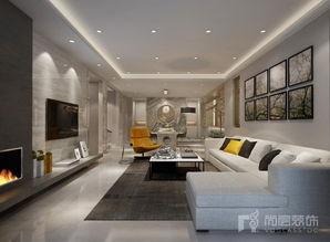 高级灰装修效果图-现代客厅实景图